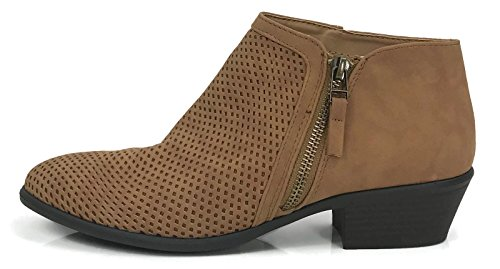 Bella Marie Womens Arianna Ankle Bootie Zipper Side V Cut Low Chunky Stacked Heel Camel Perforated Nb11JMp