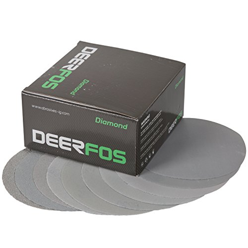Deerfos Hook and Loop Sanding Discs 6 Inch, 100 Pack, No Holes, Assortment Grits including P40, P80, P100, P120, P180, P220, P320, P400, P600 and P800. Made of Aluminum Oxide and Back Film - Sand Fiberglass Primer No