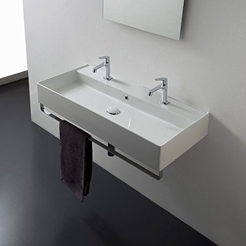 Scarabeo Scarabeo 8031/R-120B-TB-Two Hole Teorema Wall Mounted Double Ceramic Sink with Polished Chrome Towel Bar, White new