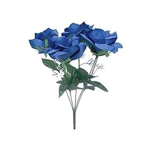 2 Bushes Open Rose Artificial Silk Flowers Bouquet 6-7203 Royal Blue 2