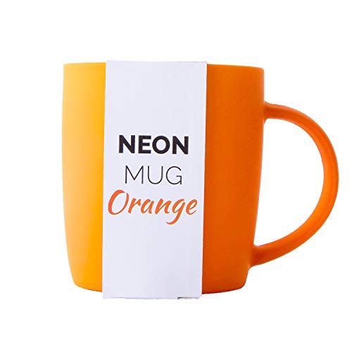 Orange Coffee Mug - Root7 Neon Mug | Bright, Colorful 12 oz Orange Coffee Mug With Silky Soft Touch Rubber Finish | Stylish New Bone China Cup For Office + Home Or A Gift For Women + Men