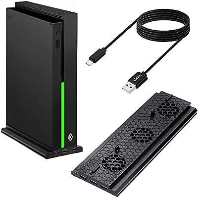 Lictin Xbox One X - Ventilador de refrigeración para Xbox One X con soporte vertical con 3 puertos USB extra para Xbox One X y 2 cables de carga (9ft): Amazon.es: Belleza