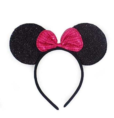 Mickey Minnie Mouse Ears Headband Boys Girls Birthday Party Mom Hairs Accessories Baby Shower Head wear Halloween Party Decorations Glitter Deluxe Fabric Ears with Sequin Bow (Pink) (Three Pack) ()