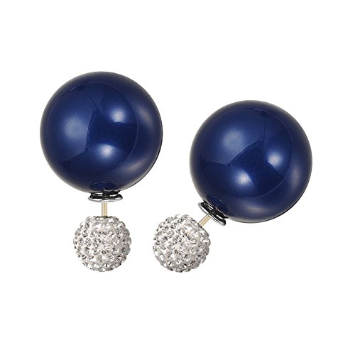 KIVN Fashion Jewelry Crystal Ball Stud Double Sided Pearl Earrings for Women - Pearl Of Mother Earrings Sapphire
