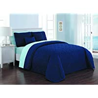 Avondale Manor Del Ray Quilt Set (Queen,Navy/Light Blue)