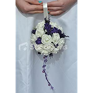 Ivory and Purple Rose, Allium and Heather Flower Girl Pomander 88