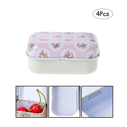 Ximimark 4Pcs Mini Flower Tin Trinket Jewelry Coin Box Tinplate Storage Case Small Rectangular -
