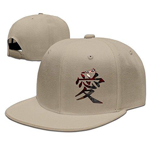 CEDAEI Japanese Comic Character Gaara Love Naruto Shippuden Flat Bill Snapback Adjustable Travel Hats Natural -