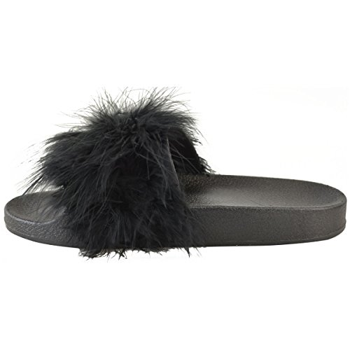 Mode Törstig Kvinna Marabou Reglaget Bekväma Diabilder Platt Gummi Sandal Sommar Storlek Svart Faux Marabou