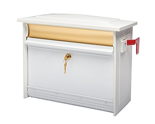 Gibraltar Mailboxes Mailsafe Medium Capacity Aluminum White, Wall-Mount Mailbox, MSK0000W