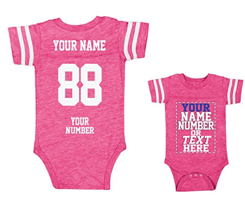 (Custom Jerseys for Babies - Make Your OWN Jersey ONE-Piece Suits - Personalized Baby & Newborn Outfits Hot Pink )