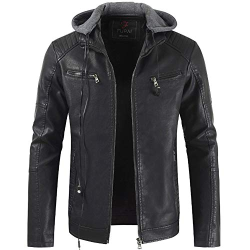 Men's Autumn and Winter Lapel Hooded Leather Jacket Plus Thick Coat