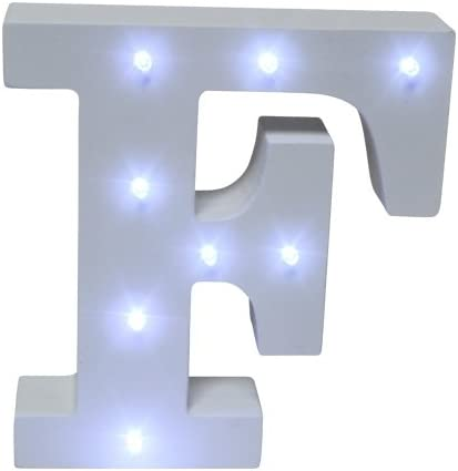 Royal Brands Decorative DIY LED Letter Light Sign - Light Up Wooden Alphabet Letter Battery Operated Party Wedding Marquee Décor - White (F)