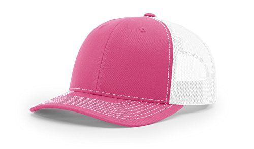 Richardson Hot Pink/White 112 Mesh Back Trucker Cap Snapback Hat