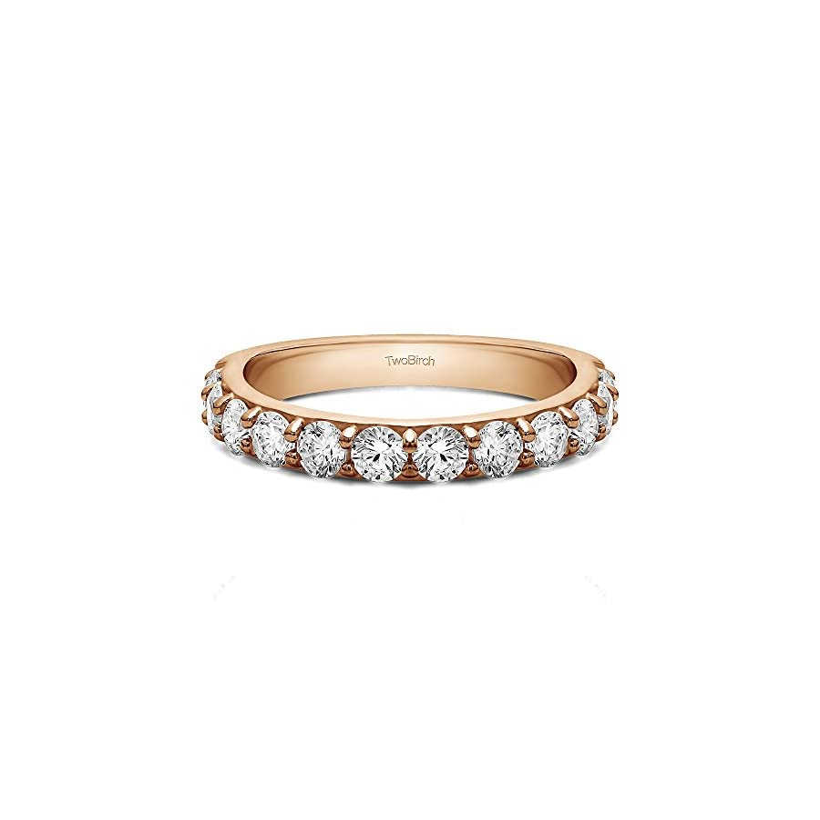 TwoBirch .48Ct Twelve Stone Round Pave Wedding band 14k Rose Gold Diamonds (G H,SI2 I1)(Size 3 to 15 1/4 Sizes)