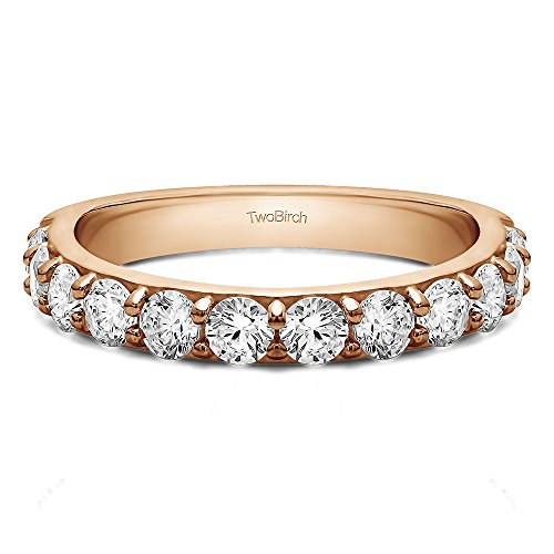 .48Ct Twelve Stone Round Pave Wedding band 14k Rose Gold Diamonds (G H,SI2 I1)(Size 3 to 15 1/4 Sizes)