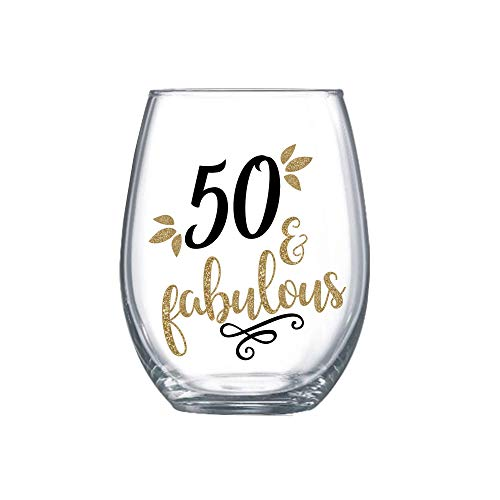 50 and Fabulous Gifts for Women Stemless Wine Glass 50th Birthday Gift for Her 0043