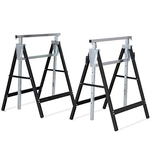 2 Pack Adjustable Height Folding Sawhorse Trestle Iron Frame with Ebook