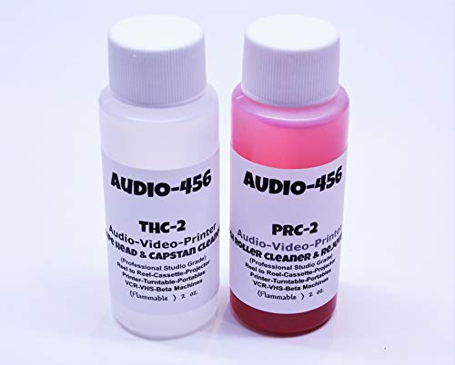 Audio 456 THPR-2 (1) 2 oz Audio 456 Audio/Video Tape Head Capstan Cleaner Fluid & (1) 2 oz Audio 456 Audio Video Pinch Roller Cleaner Rejuvenator Fluid (Prior SR-Audio) Reel to Reel+Cassette+Printer