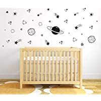 Planet Wall Decal, Boys Room Decor, Outer Space Wall Decals, Star Wall Stickers, Vinyl Wall Decals for Children Baby Kids Boys Bedroom, Nursery Decor Y04