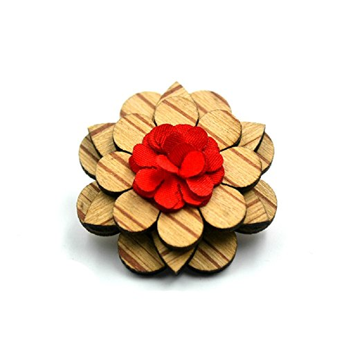 Amzchoice Mens Wood Lapel Flower Wooden Boutonniere Pin for Suit Wedding Corsage
