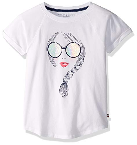Tommy Hilfiger Girls' Big Short Sleeve Graphic Tee Shirt, Girly White, L12/14