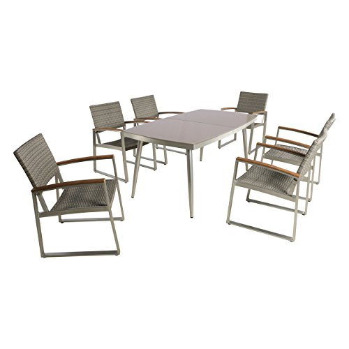 Great Deal Furniture Telly Outdoor Aluminum and Wicker 7 Piece Dining Set with Glass Table Top, Silver and Gray - Wood 7 Piece Glass