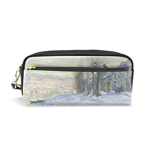 (Pencil Case Pen Bag Claude Monet Art Lavacourt Under Snow Stationery Pouch Cosmetic Makeup Wristlets Bag Zipper)