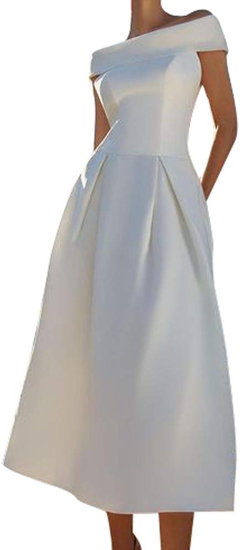 Goosuny Elegante Abendkleider Damen Sexy Schulterfrei Ärmelloses Weißes  Partykleider Sling Sommerkleider Lang Edle Kleider Schicke Abschlusskleider