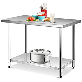 Amazon.com: Giantex - Mesa de cocina con estante ajustable y ...