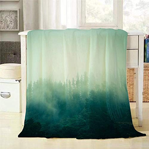 Mugod Throw Blanket Forest Moody Misty Landscape with Pine Forest Extra Soft Warm Lightweight Cozy Luxury Suitable for Bedding Sofa Couch 40x50Inch