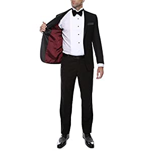 Ferrecci Men's Bronson Black Slim Fit Notch Collar Lapel 2 Piece Tuxedo Suit Set – Tux Blazer Jacket and Pants