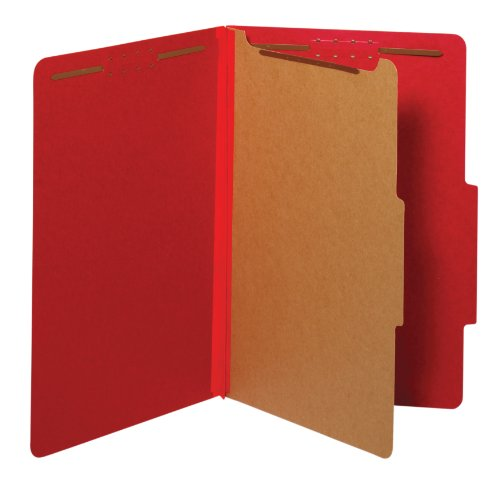 Globe-Weis/Pendaflex Colored Classification Folders, 2/5 Cut Tab, 1 Divider, Embedded Fasteners, Legal Size, Bright Red, 10 Per Box (28731) by Globe Weis