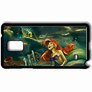 Personalized Samsung Note 4 Cell phone Case/Cover Skin Art The Little Mermaid Mermaid Ariel Underwater Fish Black