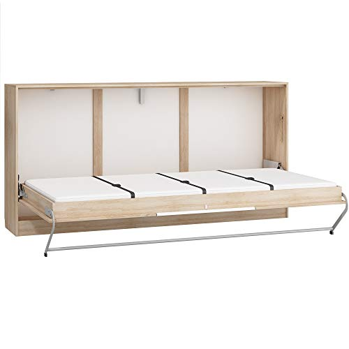 Furniture.Agency Roger European Single Kids Murphy Bed Metal Frame, Mattress Included, Sonoma Oak/White Gloss