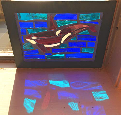 Orca Stained Glass Mosaic Art Panel in Frame 5 x 7 by Glass Art by John