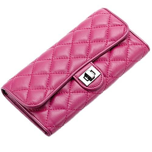(Fashion Soft Leather Women Wallet Ladies Sheepskin Folder Long Card Phone Storage Wallets)