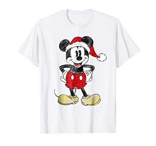(Disney Santa Mickey Mouse Christmas T Shirt)