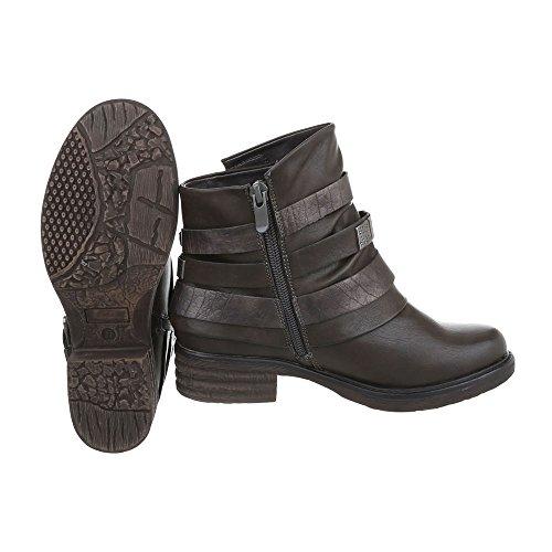 Zapatos para mujer Botas Tacón ancho Botas Western Ital-Design Gris Marrón