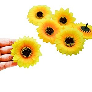 HZOnline Artificial Silk Sunflower Heads, Fake Flowers Heads Simulation Fabric Floral Supplies for Wedding Engagement Home Party Decor Hair Clip Wreath Decorative (40PCS 2.36 inch) 2