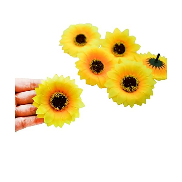 HZOnline-Artificial-Silk-Sunflower-Heads-Fake-Flowers-Heads-Simulation-Fabric-Floral-Supplies-for-Wedding-Engagement-Home-Party-Decor-Hair-Clip-Wreath-Decorative-40PCS-236-inch