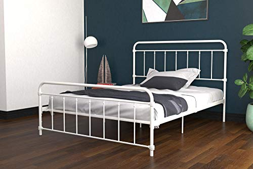 (DHP Winston Metal Bed Frame, Multifunctional Piece with Adjustable Heights for Under Bed Storage, White - Queen)