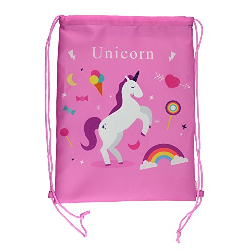 Rantanto Double Sided Unicorn Printed Drawstring Backpack Bags (PT0043 Candy Unicorn)