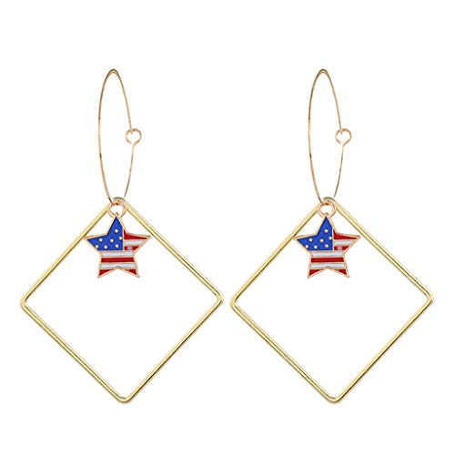 Jocund Women Simple Independence Day Flag Star Large Metal Earrings Necklace Jewelry
