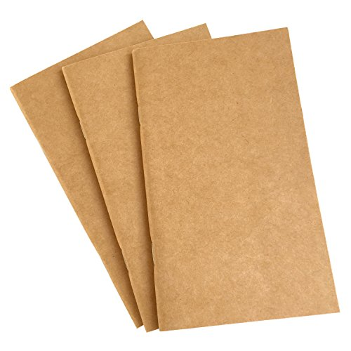 Blank Notebook Journal Sketchbook - Set of 3 Travelers Inserts - Plain Unruled Refill for Medium Size Notebook - Thick 100gsm Paper with Kraft Brown Cover, 192 Pages - Perfect for Sketching, Drawing ()