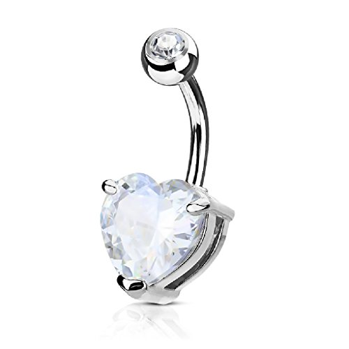 Heart Rose Belly Button Ring - 7