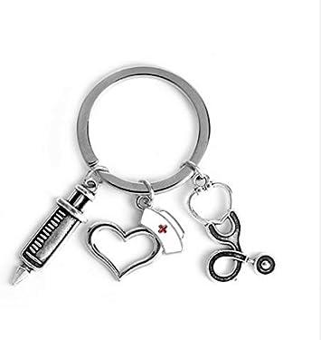 Llavero de enfermera con jeringuilla, gorro, corazón y estetoscopio