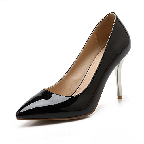 AmoonyFashion Womens Patent Leather Pointed Closed Toe Spikes Stilettos Pull On Pumps-Shoes Black vjl3oI