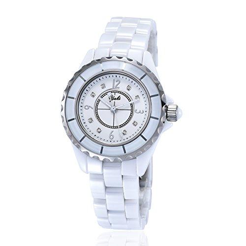 Yaki Mode Damen Keramik Quarz Uhren weiß Damenarmbanduhr Wasserdicht Rund