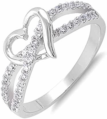 Infinity Twist Heart Clear Cubic Zirconia Sterling Silver Womens Girls Promise Fashion Ring Sizes 4-10